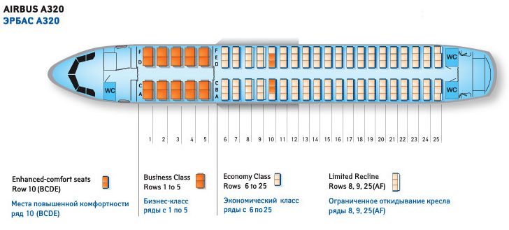 Airbus A320 схема салона.
