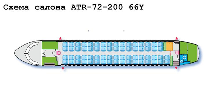 Aerospatiale/Alenia ATR 72-200 схема салона самолета с компоновкой 66Y