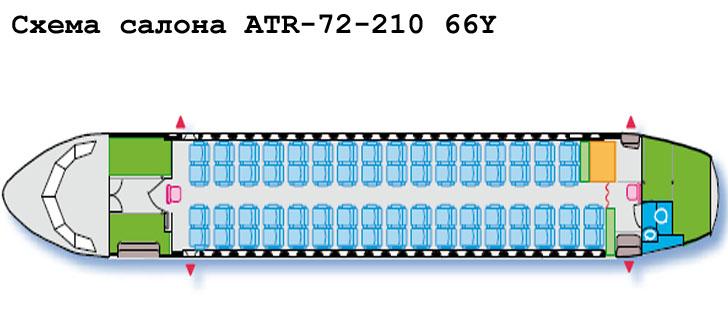 Aerospatiale/Alenia ATR 72-210 схема салона самолета с компоновкой 66Y
