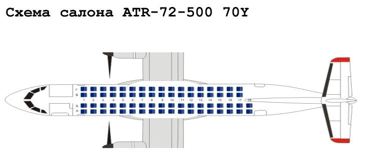 Aerospatiale/Alenia ATR 72-500 схема салона самолета с компоновкой 70Y