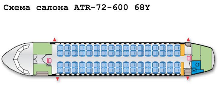 Aerospatiale/Alenia ATR 72-600 схема салона самолета с компоновкой 68Y