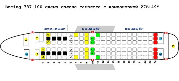 Boeing 737-100 схема салона самолета с компоновкой 27B+49Y