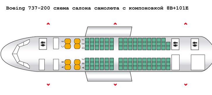 Boeing 737-200 схема салона самолета с компоновкой 8B+101E