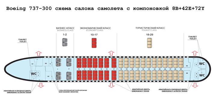 Boeing 737-300 схема салона