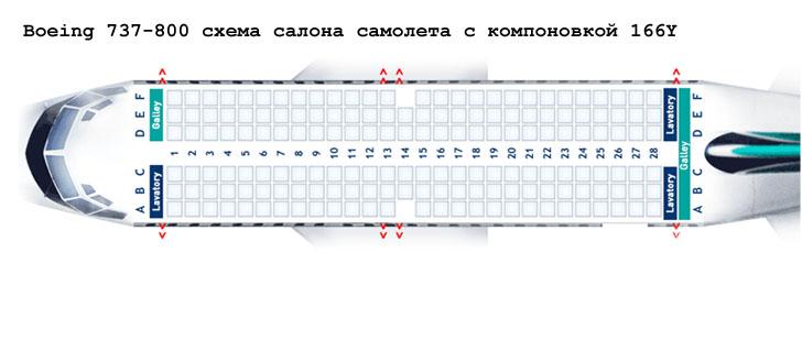 Boeing 737-800 схема салона самолета с компоновкой 166Y