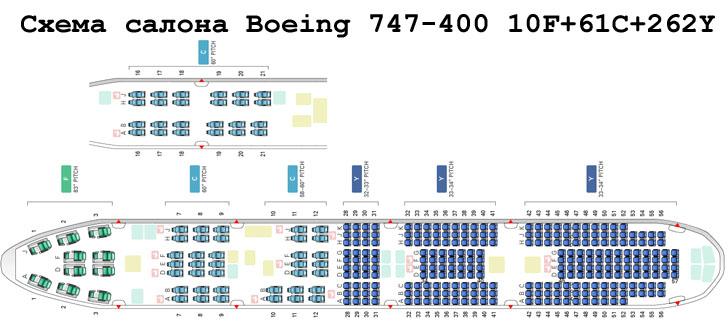 Boeing 747-400 схема салона