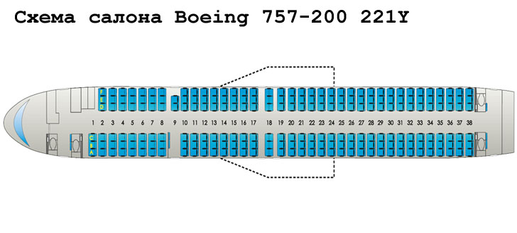 Boeing 757-200 схема салона самолета с компоновкой 221Y