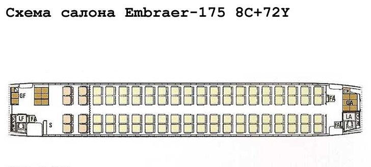 Embraer 175 схема салона самолета с компоновкой 8C+72Y