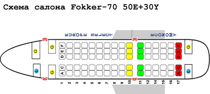 Fokker 70 схема салона самолета с компоновкой 50E+30Y