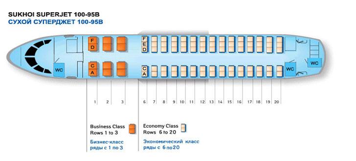 Sukhoi Superjet 100 (SSJ100) схема салона самолета с компоновкой 12B+75Y