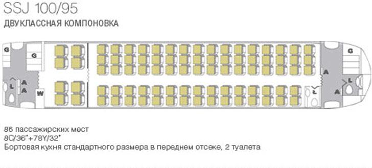 Sukhoi Superjet 100 (SSJ100) схема салона самолета скомпоновкой 8B+78Y
