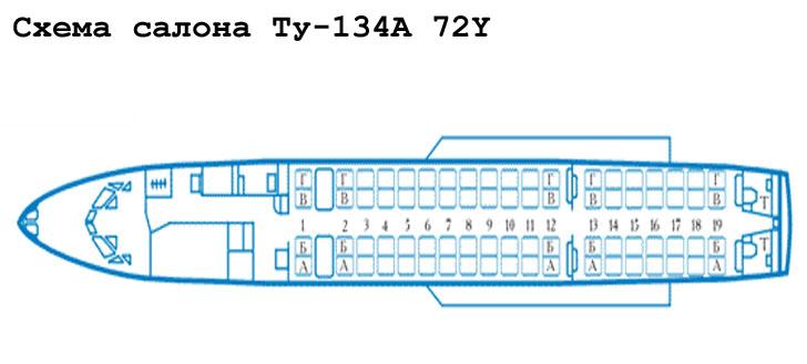 Ту-134А схема салона самолета