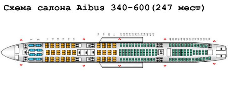 Airbus A340-600 схема салона самолета на 247 мест