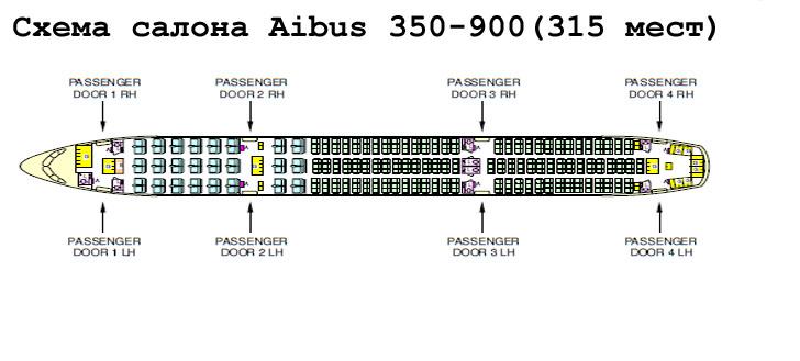 A350-900 схема салона самолета на 315 мест