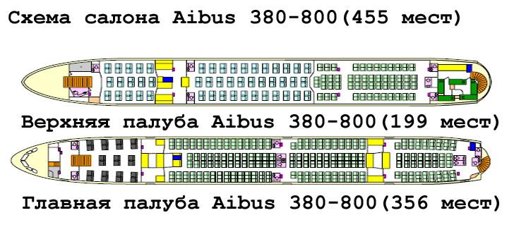 Airbus A380 схема салона