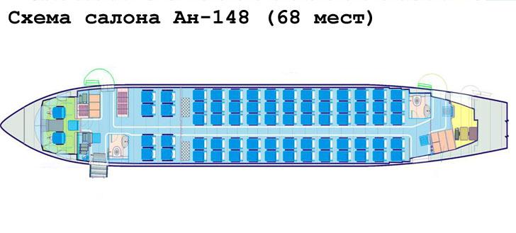 АН-148 схема салона самолета на 68 мест