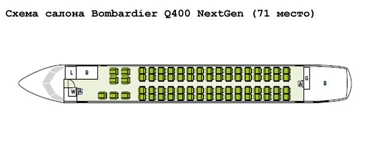 Bombardier Q400 NextGen схема салона самолета на 71 место