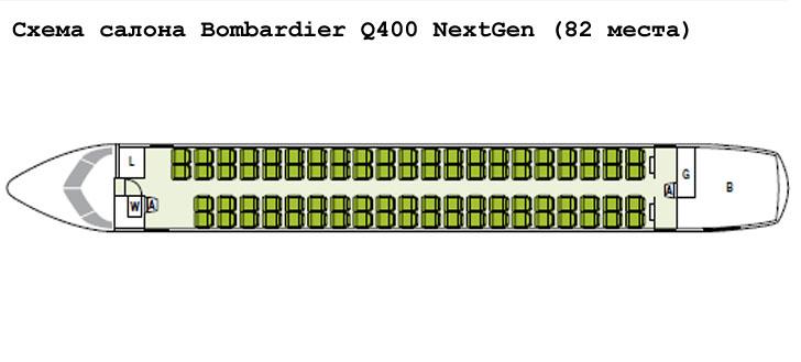Bombardier Q400 NextGen схема салона самолета на 82 места
