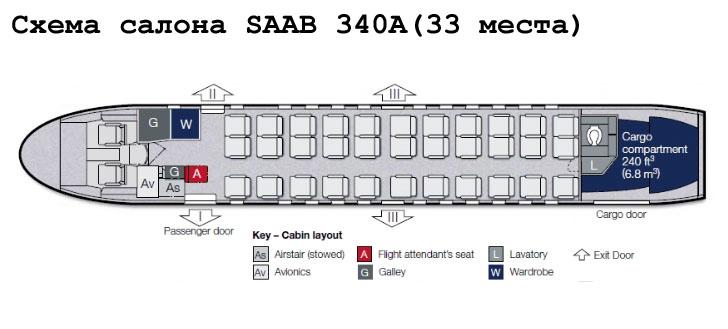 Saab 340A схема салона самолета на 33 места