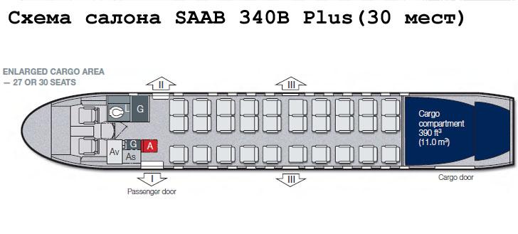 Saab 340B Plus схема салона самолета на 30 мест