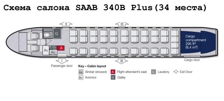 Saab 340B Plus схема салона самолета на 34 места