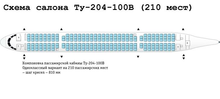 Ту-204-100В схема салона самолета на 210 мест