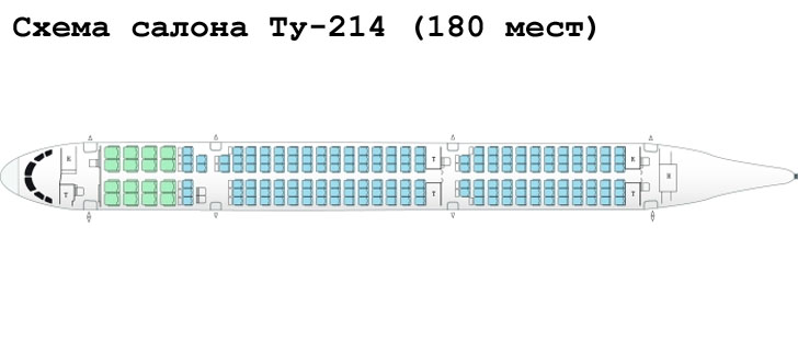 Ту-214 схема салона самолета